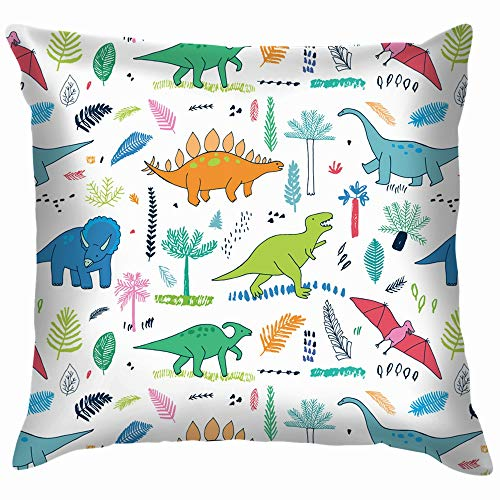 Funny Dinosaurs Palm Leaves Animals Wildlife Dinosaur Parks Outdoor Funny Square Throw Pillow Cases Cushion Cover for Bedroom Living Room Decorative 18X18 Inch