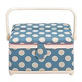Prym Nähkorb, Polka Dot-Design, mit rosafarbener und weißer Verkleidung, Leinen, mittelgroß, Blau