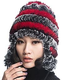 f22427fc607 URSFUR Chapeau Bobble Beanie Femme Bonnet Béret Tendance Tricot Fourrure  Lapin Fille à Cache Oreille Hiver