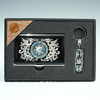 Mother of Pearl Phoenix Design Metal Stainless Steel Engraved Slim Business Id Card Holder Case Keychain Set