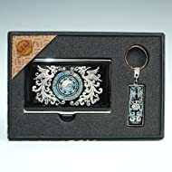 Mère de perle Phoenix Design en Métal gravé Fine en acier inoxydable Business Carte d'identité Support Housse de porte-clés