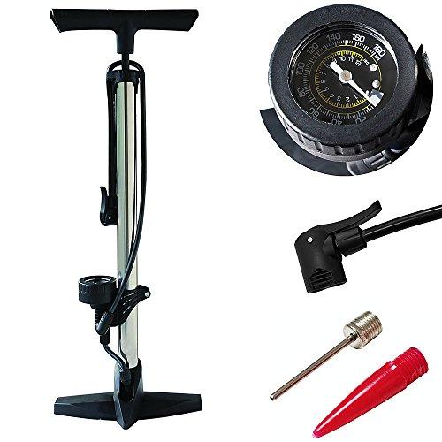 Melko Luftpumpe mit bis zu 12 Bar, Silber, Mobile Standluftpumpe für Fahrrad, Luftmatratze, Schlauchboot, Bälle UVM. mit Schlauch für nahezu jedes Ventil