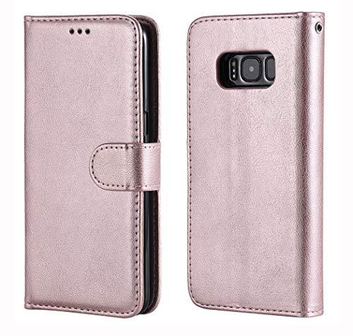 Roses Pochette (Nnopbeclik Lederhülle Kompatibel mit Samsung Galaxy S8 Handyhüllen 360 Grad, 2in1 Flip Case Wristlet/Pochette [Magnetische] Handtasche Schutzhülle Samsung Galaxy S8 Hülle Rose Gold)
