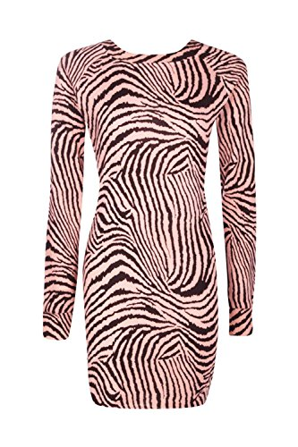 Rose Damen Ally Animal Print Brushed Knit Bodycon Dress Rose