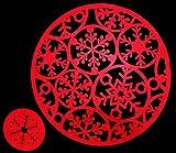 Set di 8tovagliette rotonde in feltro e 8sottobicchieri, colore rosso, ideali per la cena di Natale