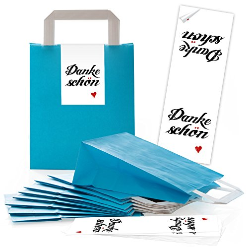 25 blaue Papiertüten Papier-Tragetaschen Henkel-Tüten Boden 18 x 8 x 22 cm kleine Papiertaschen + Aufkleber DANKE-SCHÖN rot weiß HERZ Verpackung Geschenke give-away Kunden Gäste (Weiße Papier-tüten Und Rote)