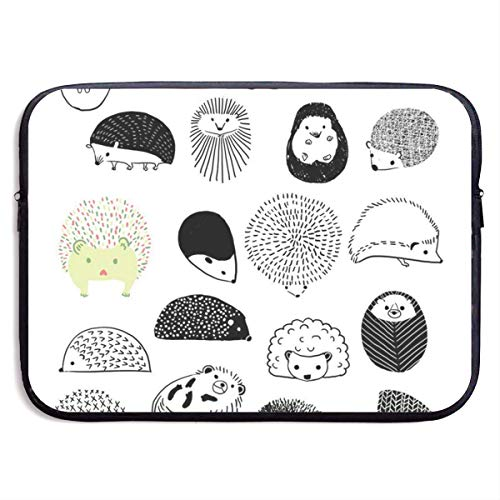 Holuday Cute Hedgehog 13 15 inch Laptop Sleeve Bag Tablet Clutch Carrying Case,Water Resistant, Black 13 inch