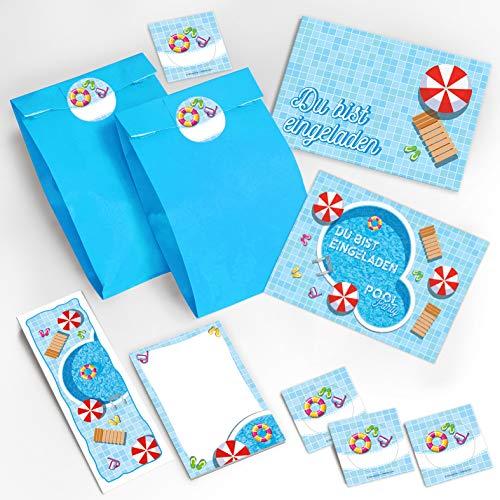 16 Einladungskarten Kindergeburtstag Schwimmbad Einladungen Mädchen Jungen incl. 16 Umschläge, 16 Geschenktüten / blau, 16 Aufkleber, 16 Lesezeichen, 16 Blöcke Mitgebsel Gastgeschenke Pool-Party