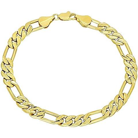 7mm 14K Placcato Oro Diamante Catena Figaro