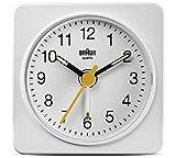 Brand New Braun Quartz Movement Analogue Display Travel Alarm Clock in White