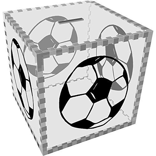 Azeeda Groß \'Hand Gezeichneter Fußball\' Klar Sparbüchse / Spardose (MB00024001)