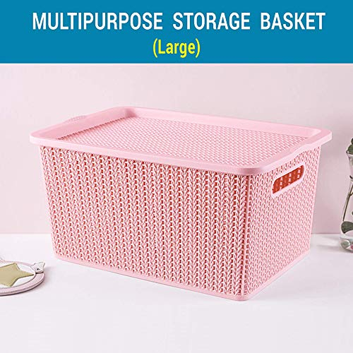Tied Ribbons Plastic Storage Basket, Pink