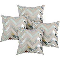 Deconovo Fundas de Almohada Cuadrada de Algodón Reciclado con Rayas Plata para Sofá, Plata, 45 x 45 cm, 4 Piezas