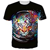 Uideazone Juniors Printed Lion Face T Shirt Casual Graphic Tee Black