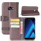 Samsung Galaxy A3 2017 Hülle, Magnetisch Flip Echtleder Kartensteckplätze Brieftasche Stand für Samsung Galaxy A3 2017,Brown