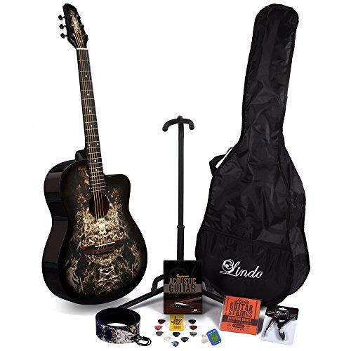 Lindo 933C Alien Schwarz Akustik Gitarre & Full Accessory Pack (Gigbag Tasche, Ständer, Saiten, Gurt, 10Plektren, DVD, Stimmgerät)