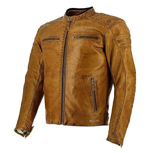 Fach Ellenbogen (Richa Daytona 60s Leder Motorrad Jacke - Cognac - Braun, 52)