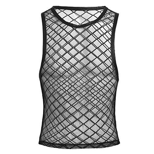 Tiaobug Herren Top Tanktop T-Shirt Ärmellos Netz Hemd Unterhemd Erotik Unteräwsche Transparent Nachtwäsche Schwarz XXL
