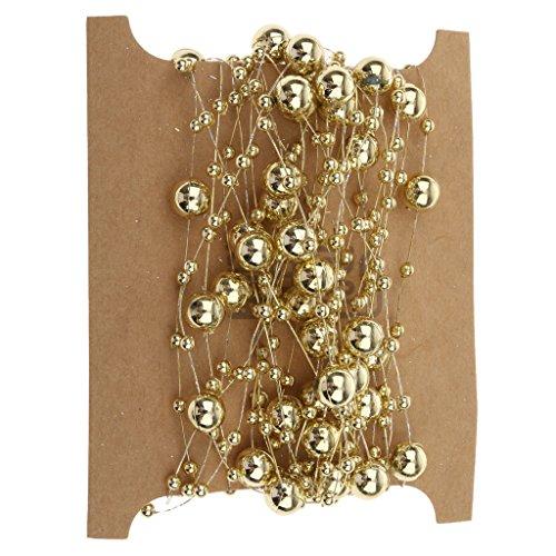 5m Angelschnur Vergoldet Perle Gemischte Größe Kornkette DIY Dekoration Trimmen