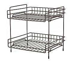 NEUN WELTEN Deep 2 Tier Kitchen Helper Shelf Rack with Large Storage Space 25.5L x 28W x 29H (Espresso)