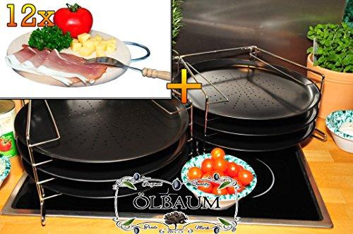 6 Stk. rundes Pizzablech mit gelochtem Boden + 2x 4 stufiger Edelstahl-Pizzablechhalter, TRADITIONELL, ca. 33 cm x 1 mm & 12 mal Hochwertiges, dickes ca. 16 mm Buche - SPÜLMASCHINENFEST '*' -Grill-Holzbrett natur mit Metallhenkel, Maße rund ca. 25 cm Durchmesser als Bruschetta-Servierbrett, Brotzeitbretter, Steakteller schinkenbrett rustikal, Schinkenteller von BTV, Brotzeitteller Bayern, Wildbrett, Wildbret,