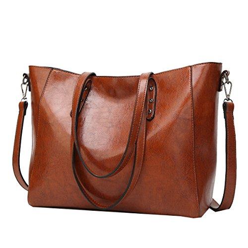 Yy.f Nuove Borse Big Bag Moda In Pelle Di Olio Spalla La Signora A Mano Borse Diagonali Sacchetti Multicolore Sacchetto Di Colore Solido Black