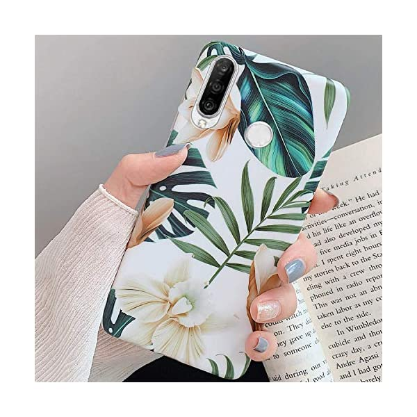 Uposao Compatible with Huawei P30 Lite Case for Women Girls Green Leaves Flower Pattern Ultra Thin Shockproof Silicone Phone Case Flexible Soft TPU Protective Cover Case,White Flower Uposao Compatible Model:Huawei P30 Lite Package:1 x Bumper Case Cover,1 x Black Stylus Touch Pen Green Leaves with Flowers Pattern Slim Fit Clear Bumper Soft TPU Protective Case Cover 1