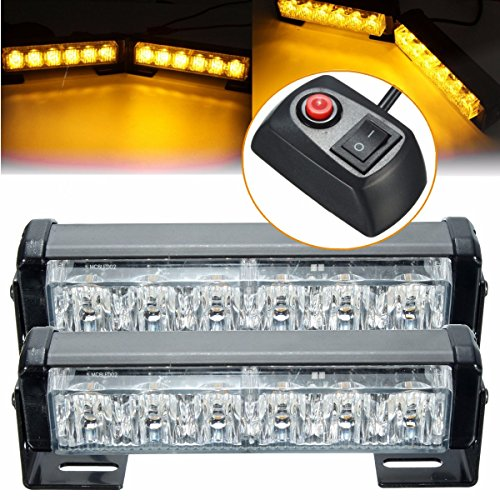 ILS - Pair 6 LED Amber Car Flashing Emergency Warning Light Strobe Lamp Switch Harness - Emergency Light Switch