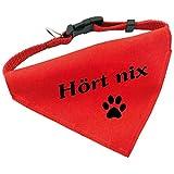 Hunde-Halsband mit Dreiecks-Tuch HÖRT NIX, längenverstellbar von 32 - 55 cm, aus Polyester, in rot