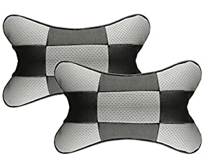 Autopearl BlkGry_Chess_NeckRst Neck Rest Cushion for All Cars (Pack of 2, Black)