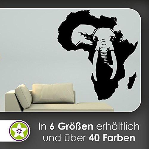 hauptsachebeklebt KIWISTAR Elefant Afrika Silhouette Wandtattoo in 6 Größen - Wandaufkleber Wall Sticker