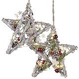 Britesta LED-Weihnachtssterne: 2er-Set Deko-LED-Sterne, Nussholz, echte Pinienzapfen, handgefertigt (Weihnachtssterne beleuchtet)
