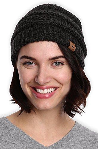 Tough Headwear Robuste Kopfbedeckung Zopfstrick-Mütze - dick, weich und warm, grobe Beanie für Damen und Herren - Serious Beanies für Serious Style, Damen, Black Gray2 - Beanie Bekleidung