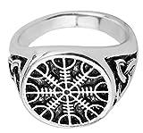 Vintage Viking Aegishjalmur timón de Awe irlandés Trinity nudo amuleto anillos joyas para hombres