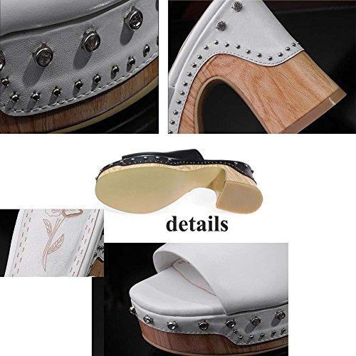 Pompa Pantofole Mules 10 cm Tacchi alti vera pelle Rivetti di metallo sandali Scarpe casual Scarpe da sera Donne Maturo Peep Toe Piattaforma Spessa Scarpette Scarpe da ascensore Dimensioni Eu 34-40 Black