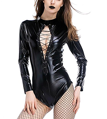 Erwachsene Langarm Rollkragen Body (DuuoZy Frauen Sexy Wet Look Leder Langarm-Body-Teddybär-Wäsche Clubwear , black , m)