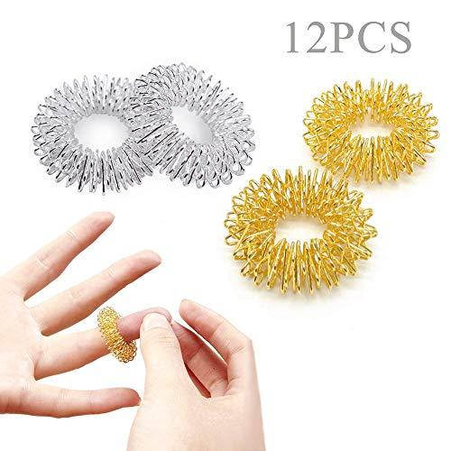 12 Stücke Massage Ring Stachelig Sensorische Fingerringe, Acupressur Ringe Stachelig Finger Massage Ring Set, Anti Stress Fingermassagering(6 Gold + 6Silber)