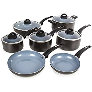 tower cerasure pan set with non stick inner coating graphite 7 piece kitchen home. Black Bedroom Furniture Sets. Home Design Ideas