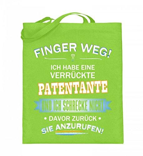Hochwertiger Jutebeutel (mit langen Henkeln) - FINGER WEG - PATENTANTE Limette