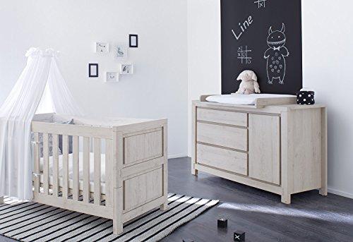 Pinolino 090063X 2-Teilig, Kinderbett und Extrabreite Wickelkommode mit Wickelaufsatz, aus MDF, 140 X 70 cm, eiche grau -