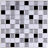 6 Piezas 3D Adhesivos Azulejos Pegatina de pared Azulejos de Gel para Cuarto de Baño y Cocina,...