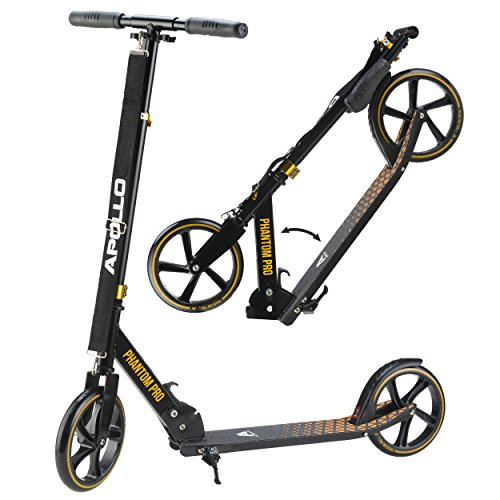 Apollo Big Wheel Scooter 200 mm - Phantom Pro Oro es un City Scooter de Lujo, City Roller Plegable y Ajustable en Altura, Kick Scooter para Adultos y Niños