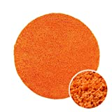 Shaggy-Teppich, Flauschiger Hochflor Wohn-Teppich, Einfarbig/Uni in Orange für Wohnzimmer, Schlafzimmmer, Kinderzimmer, Esszimmer, Größe: 80 x 80 cm Rund