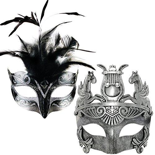 CCUFO Silber / Schwarz Mittlere Feder Frauen Maske & Silber Roman Warrior Männer Maske venezianische Paar Masken für Maskerade / Party / Ball Prom / Karneval / Hochzeit / Wanddekoration