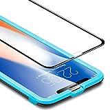 Verre Trempé iPhone XS/X Couverture Complète (Gabarit de Pose Inclu), ESR iPhone XS/X Film Protection en Verre Trempé écran Protecteur Ultra Résistant Indice Dureté 9H pour iPhone Xs 5,8 pouces (Noir)