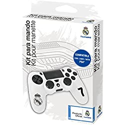 Funda protectora de silicona para mando PS4 - Carcasa blanda antideslizante con Thumb grips caps de precisión para joysticks - Accesorios videojuegos con licencia oficial Real Madrid
