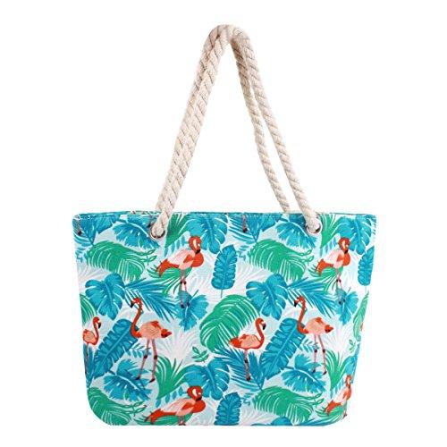 Millya Leinwand Reise Tasche Übergroße Schultertasche 34,3cm Urlaub Beach Bag Einkaufstasche, Damen, Flamingo, Middle -