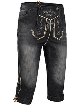 PAULGOS Herren Trachten Jeans in Optik Trachten Lederhose Kniebund in 3 Farben Gr. 44-62
