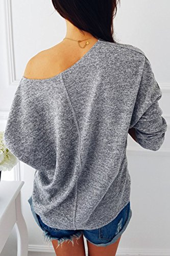 Lettre d'amour les Femmes UNE Épaule Paillettes Poche Figure en Chemise Pull Maxi Grey