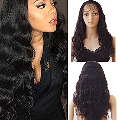 Lace Front Wig Human Hair Wigs for Black Women Straight with Baby Hair Natural Hairline Swiss Lace Remy Brazilian Hair Long Full Wigs #1B Off Black by Elailite